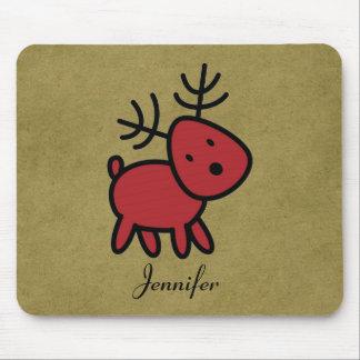 Mousepad Ilustração vermelha da rena do Natal personalizada