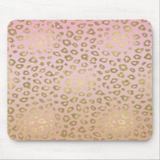 Mousepad Impressão cor-de-rosa do leopardo do ouro de Ombre