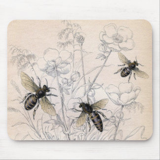 Mousepad Impressão da arte da abelha do mel do vintage