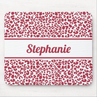 Mousepad Impressão vermelho e branco na moda do leopardo
