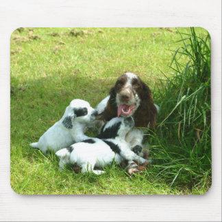 Mousepad Inglês cocker spaniel e filhotes de cachorro