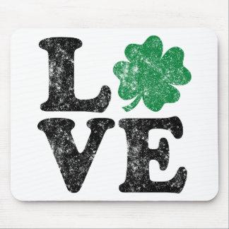 Mousepad Irlandês do trevo do AMOR do Dia de São Patrício