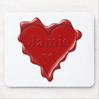 Mousepad Jamie. Selo vermelho da cera do coração com Jamie