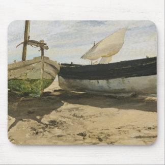 Mousepad Joaquin Sorolla - barcos de pesca na praia