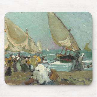 Mousepad Joaquin Sorolla - barcos na praia de Valência