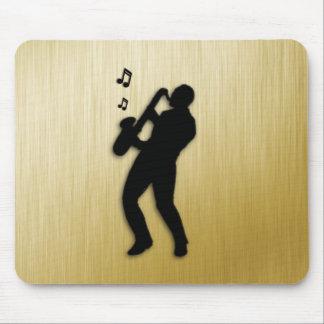 Mousepad Jogador de saxofone dourado