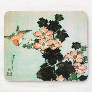 Mousepad Katsushika Hokusai (葛飾北斎) - hibiscus e pardal