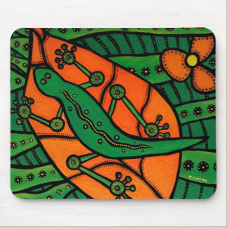 Mousepad Lagarto alaranjado e verde do geco