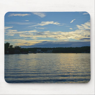 Mousepad Lago do por do sol do azul de Ozarks
