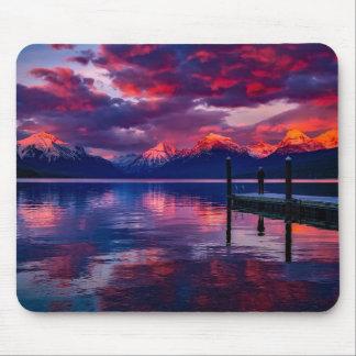 Mousepad Lago McDonald, céu do vermelho do parque nacional