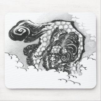 Mousepad Leão japonês do guardião de Shishi da tinta por