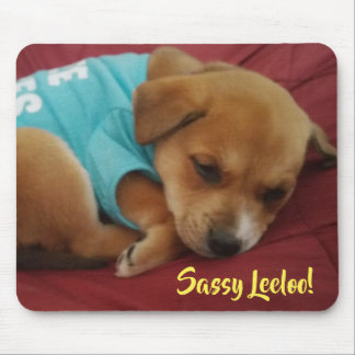 Mousepad Leeloo Sassy, filhote de cachorro sonolento