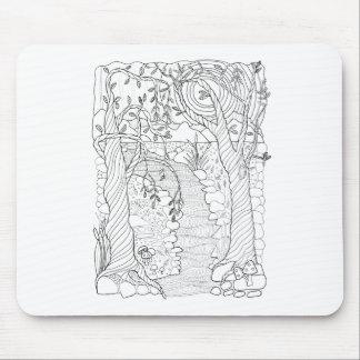 Mousepad Linha design do córrego da floresta da arte