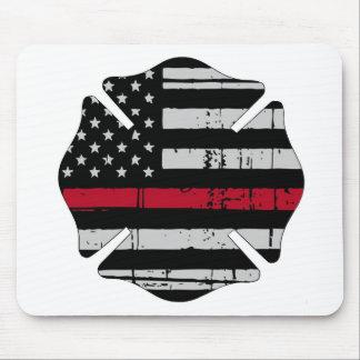 Mousepad Linha vermelha fina da cruz do bombeiro da