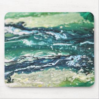Mousepad Linhas de pintura brancas do abstrato de turquesa