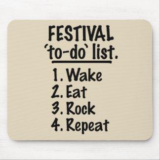 Mousepad Lista do tumulto do ` do festival' (preto)
