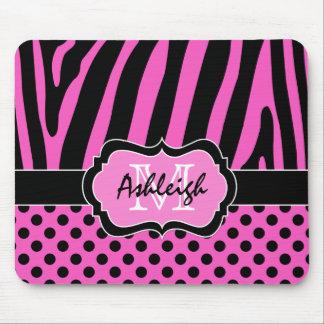Mousepad Listra da zebra & pontos cor-de-rosa, pretos,