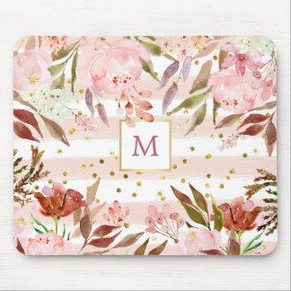 Mousepad Listras da aguarela e floral com pontos do ouro