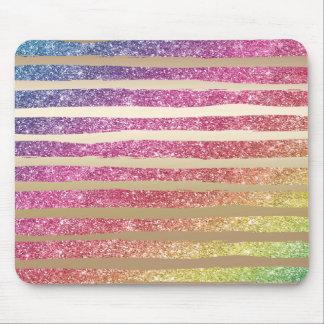 Mousepad Listras do ouro do brilho do arco-íris do falso