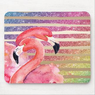 Mousepad Listras do ouro do brilho dos flamingos da