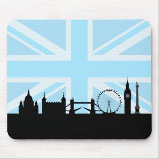 Mousepad Londres situa a skyline e Union Jack azul/bandeira