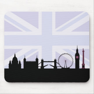Mousepad Londres situa a skyline & o Union Jack/roxos da