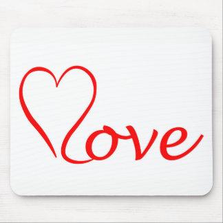 Mousepad Love coração em pano de fundo branco