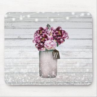 Mousepad Madeira do encanto & flores rústicas do frasco de