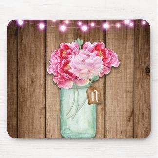 Mousepad Madeira rústica cor-de-rosa das flores das luzes