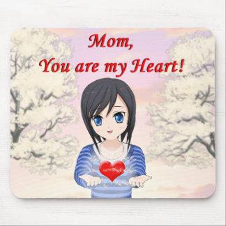Mousepad Mamã, você é meu coração (customizável)