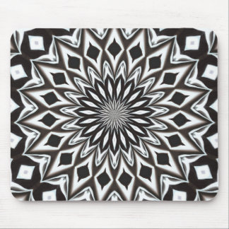 Mousepad Mandala decorativa preto e branco