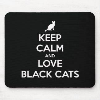 Mousepad Mantenha a calma e ame gatos pretos