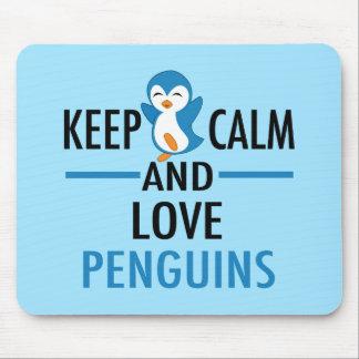 Mousepad Mantenha pinguins calmos do amor