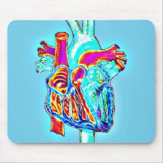Mousepad Mão de néon coração anatômico tirado