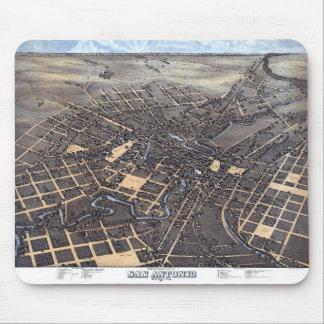 Mousepad Mapa aéreo antigo da cidade de San Antonio, Texas