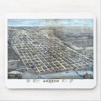 Mousepad Mapa aéreo antigo de Austin, Texas da cidade, 1873