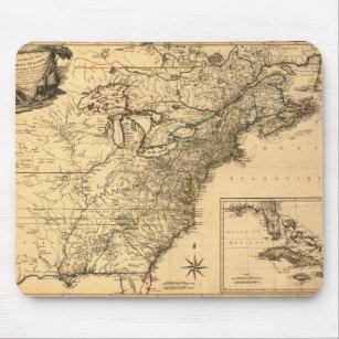 Mousepad Mapa americano das colônias do vintage 1777 por