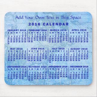 Mousepad Mapa antigo azul feito sob encomenda do calendário