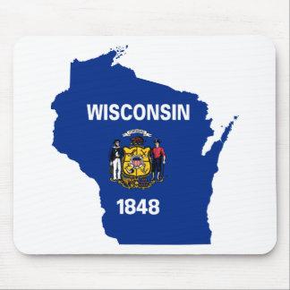 Mousepad Mapa da bandeira de Wisconsin