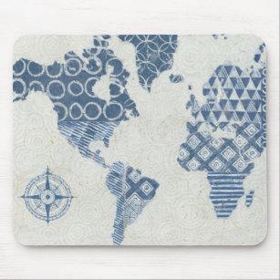 Mousepad Mapa do Batik do azul de índigo do mundo