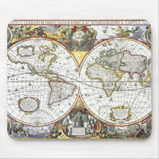 Mousepad Mapa do mundo antigo por Hendrik Hondius, 1630