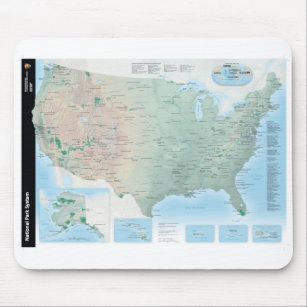 Mousepad Mapa do sistema de National Park Service