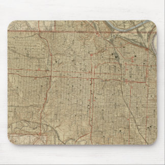 Mousepad Mapa do vintage de Kansas City Missouri (1935)
