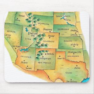 Mousepad Mapa dos Estados Unidos ocidentais