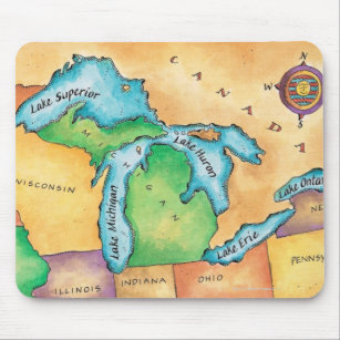 Mousepad Mapa dos grandes lagos
