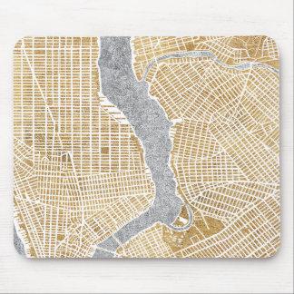 Mousepad Mapa dourado da cidade de New York