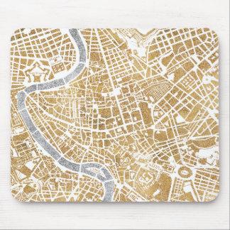 Mousepad Mapa dourado da cidade de Roma