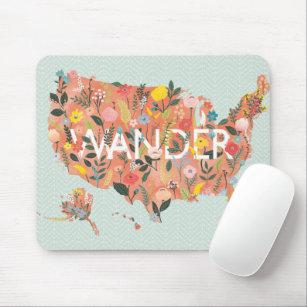 Mousepad Mapa Floral dos EUA - Jardim Selvagem