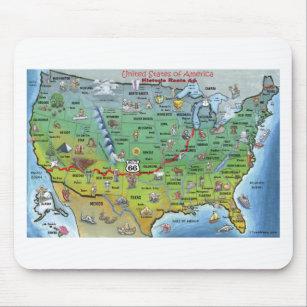 Mousepad Mapa histórico dos desenhos animados da rota 66
