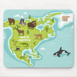 Mousepad Mapa norte-americano do animal & da planta